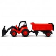 Polesie Traktor med frontlastare och släp 87x23x26 cm röd 1450662