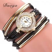 New Duoya Fashion Women Gold Classic Dress Bracelet Watch Crystal Quartz Wristwatch Women Leather Casual Vintage Sport Watches