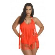 Costum de baie intreg cu franjuri Africa Orange