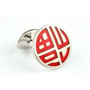 Mousie Bean Enamelled Cufflinks Happiness 141 Red
