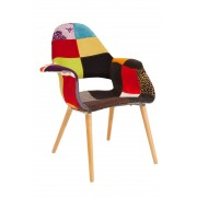 Replica Eames/Saarinen Organic Chair-patchwork fabric with natural legs