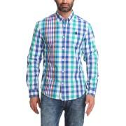 【70%OFF】ブロックチェック ワンポイント 長袖 ボタンダウン シャツ ブルーマルチ xxl ファッション > メンズウエア~~その他トップス