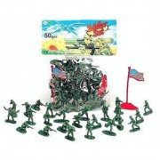 Classic Toy Green Army Men 50 Piece Plastic Soldier Set (50 soldiers - Flag May Vary)