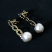 Earring Gold Plated Jewelry Semi Lamour with Pearl