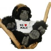 Gorila de peluche (juguete) con Amo Male en la camiseta (nombre de pila/apellido/apodo)