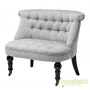 Fotoliu Loveseat LUX elegant si confortabil, tesatura alb cu negru, Camden 108840u HZ