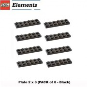 Lego Parts: Plate 2 x 6 (PACK of 8 - Black)