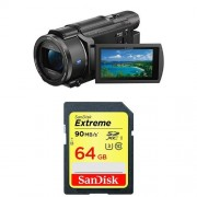 Sony FDR-AX53 Ultra HD 4K Compact Camcorder + SanDisk Extreme 64 GB SDXC Memory Card up to 90 Mbps FFP
