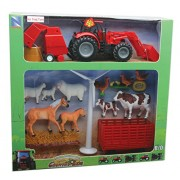 NEWRAY 01785 - Battery Operated Farm Tractor Playset Try Me, Scala 1:32