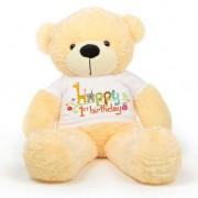 Peach 5 feet Big Teddy Bear wearing a First Happy Birthday T-shirt