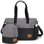 Stylish Diaper Bag Organizer for Moms Plus Baby Tote Insulated Bottle Sack - Heather Grey + Black