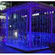 LED Fényfüggöny 2x1,5m átlátszó vezetékes kék