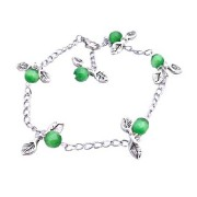 Charm Leave Faceted Green Cat Eye Beads Silver Plated Chain Bracelet