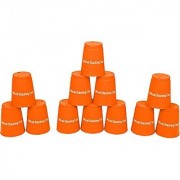 Quick Stack Cups - Speed Training Sports Stacking Cups - Set of 12 by Trademark Innovations (Orange)