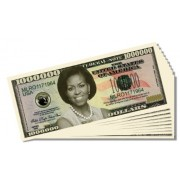 First Lady Michelle Obama Novelty Million Dollar Bill - 10 Count with Bonus Clear Protector & Christ
