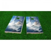 Custom Cornhole Boards Big Wave Surfer Cornhole Game Set CCB58-2x4-AW / CCB58-2x4-C Bag Fill: All Weather Plastic Resin
