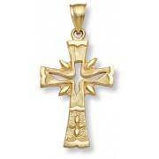 14K Gold Holy Spirit Dove Cross Pendant