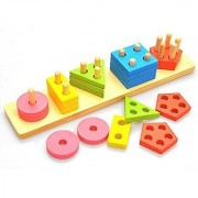 MoTrent Wooden Color Recognition & Shape Sorter Colorful Geometric Board Sorting & Stack Chunky Puzzle Toys for Kids