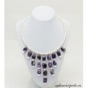 Colier de Argint cu Perla Lavanda AA