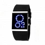 Round LED hodinky s modrým ukazateľom času