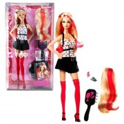 Mattel Year 2007 Barbie Top Model Hair Wear Series 12 Inch Doll - BARBIE with Stylish Hair Streaked with Hot Colors, Hair Wear Extensions Clip, Hairbrush and Display Stand by Barbie