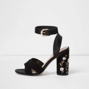 River Island Womens Black floral embroidered block heel sandals