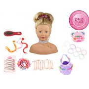 Gotz 1192052 Large Styling Head with suction pads on the bottom, with 58 pcs, blond hair, blue eyes