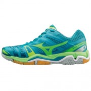 mizuno Damen-Handballschuh WAVE STEALTH 4 - capri breeze/green gecko/s