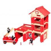 Jeujura - 8045 - Jeu De Construction - La Caserne Des Pompiers Avec Camion - 215 Pièces