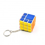 4.4X4.4X4.4cm 3-Layer Bandaged Cube w/ Key Chain - White + Multi-color