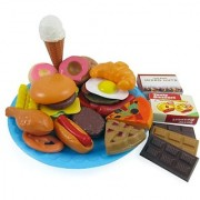 Fast Food & Dessert Play Food Cooking Set for Kids - 30 pieces (Burgers Donuts Ice Cream & more)