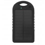 Chargeur Solaire Batterie 5000 mAh 2 USB 2A Etanche Anti Choc iPhone iPad Samsung Android, Couleur: Noir