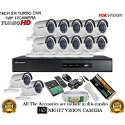 HIKVISION 16CH DS-7216HGHI-F1 Turbo HD 720P DVR + HIKVISION DS-2CE16COT-IR TURBO BULLET CAMERA 12Pcs + 2TB HDD + CABLE 3+1 COPPER + POWER SUPPLY (FULL COMBO)