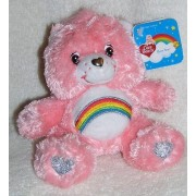 "2008 Care Bears 25th Anniversary 6"" Plush Cheer Bear Bean Bag With Silver Accents"