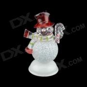 Bonhomme de neige de No?l musicale brillante ABS décoratif Toy - Blanc + Rouge (L)