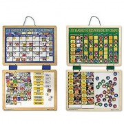 Melissa & Doug Kids' Magnetic Calendar and Responsibility Chart Set With 120+ Magnets to Track Schedules Tasks and Behaviors
