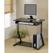 Black finish metal frame and glass top computer desk with slide out keyboard tray and lower shelf