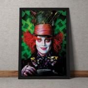 Quadro Decorativo Johnny Depp Chapeleiro Maluco Alice No Pais Das Maravilhas 35x25