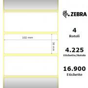 Zebra Z-Select 2000D - Etichette in carta termica protetta di colore bianco, formato 102 x 38 mm.