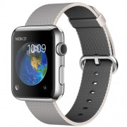 APPLE 42MM STAINLESS STEEL CASE WITH PEARL WOVEN NYLON
