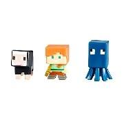 Minecraft 3 db-os figura csomag - Fekete bárány+Alex+Tintahal
