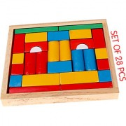 WOODEN TOYS BUILDING BLOCKS (SET OF 28 PCS) WITH WOODEN BOX