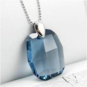 Colier argint cristal Swarovski albastru fumuriu