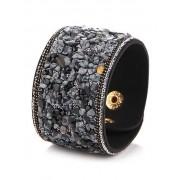 Zaful Bracelet en faux cuir avec pierres naturelles