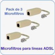 Pack de 3 unidades de Microfiltros para lineas ADSL