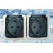 ALFA FKV 2x2+F falon kívüli vízmentes dugalj IP54
