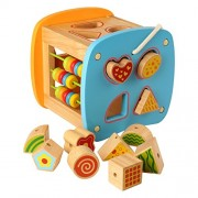 Pigloo™ Multi Activity Wooden Toy Box with Abacus, Shape Matching Blocks and Xylophone for Kids Ages 3+ Years