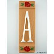 Numero civico ceramica con fiore rosso nfr11