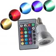 16 farebná led žiarovka E14 3W