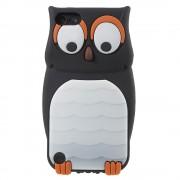 Uil hoesje iPod Touch 5 / 6 zwart wit oranje siliconen 3D